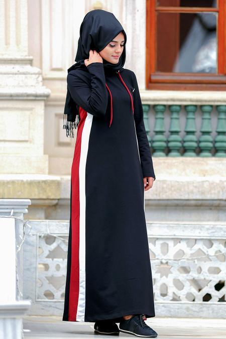 Nayla Collection - Çizgili Siyah Tesettür Elbise 80050S