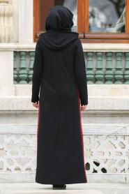 Nayla Collection - Çizgili Siyah Tesettür Elbise 80050S - Thumbnail