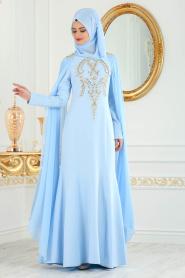 Nayla Collection - Dantel Detaylı Bebek Mavisi Tesettür Abiye Elbise 25686BM - Thumbnail