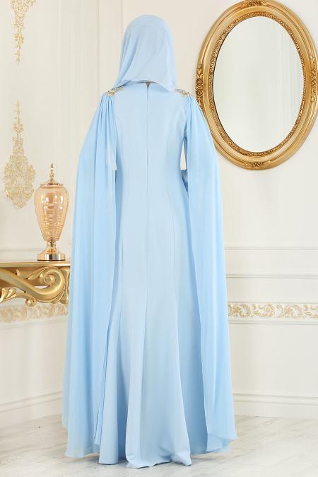 Nayla Collection - Dantel Detaylı Bebek Mavisi Tesettür Abiye Elbise 25686BM