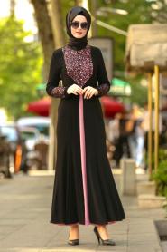 Nayla Collection - Dantel Detaylı Gül Kurusu Tesettür Abiye Elbise 9001GK - Thumbnail