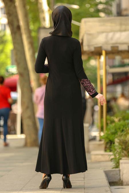 Nayla Collection - Dantel Detaylı Gül Kurusu Tesettür Abiye Elbise 9001GK