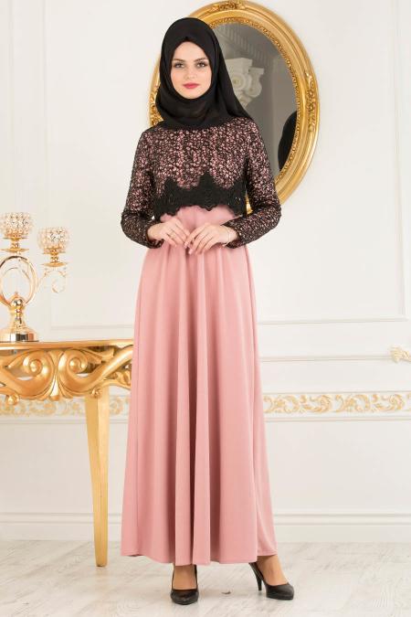 Nayla Collection - Dantel Detaylı Gül Kurusu Tesettür Elbise 12012GK