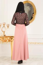 Nayla Collection - Dantel Detaylı Gül Kurusu Tesettür Elbise 12012GK - Thumbnail