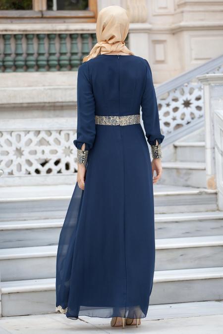 Nayla Collection - Dantel Detaylı Lacivert Tesettür Elbise 52461-01L