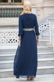 Nayla Collection - Dantel Detaylı Lacivert Tesettür Elbise 52461-01L - Thumbnail