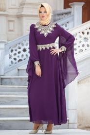 Nayla Collection - Dantel Detaylı Mor Tesettür Elbise 4173MOR - Thumbnail