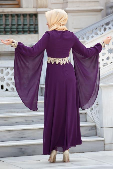 Nayla Collection - Dantel Detaylı Mor Tesettür Elbise 4173MOR
