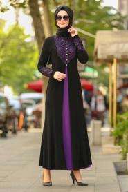 Nayla Collection - Dantel Detaylı Mor Tesettür Abiye Elbise 9001MOR - Thumbnail