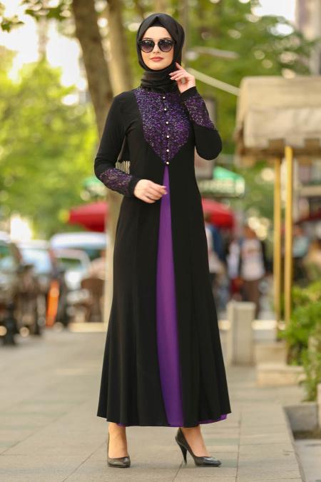 Nayla Collection - Dantel Detaylı Mor Tesettür Abiye Elbise 9001MOR