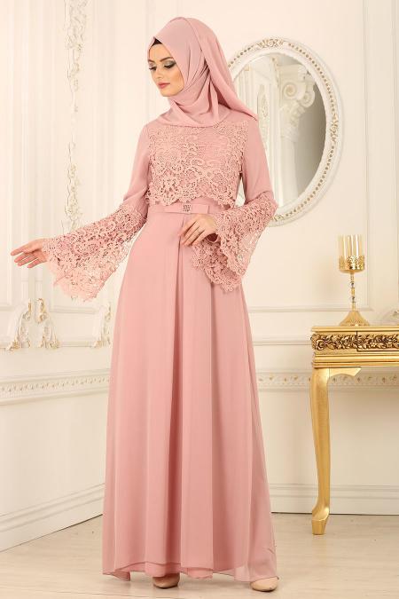 Nayla Collection - Dantel Detaylı Pudra Tesettür Abiye Elbise 25670PD