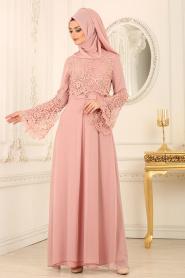 Nayla Collection - Dantel Detaylı Pudra Tesettür Abiye Elbise 25670PD - Thumbnail