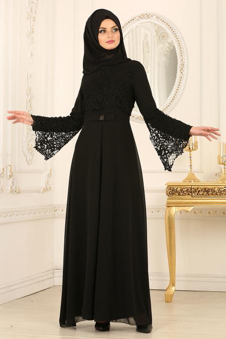 Nayla Collection - Dantel Detaylı Siyah Tesettür Abiye Elbise 25670S