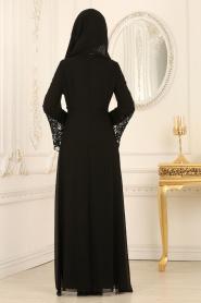 Nayla Collection - Dantel Detaylı Siyah Tesettür Abiye Elbise 25670S - Thumbnail