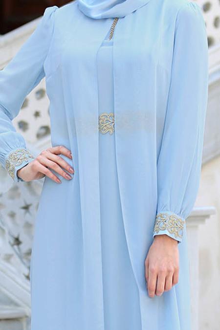 Nayla Collection - Dantel Detaylı Tüllü Bebek Mavisi Tesettür Abiye Elbise 95843BM