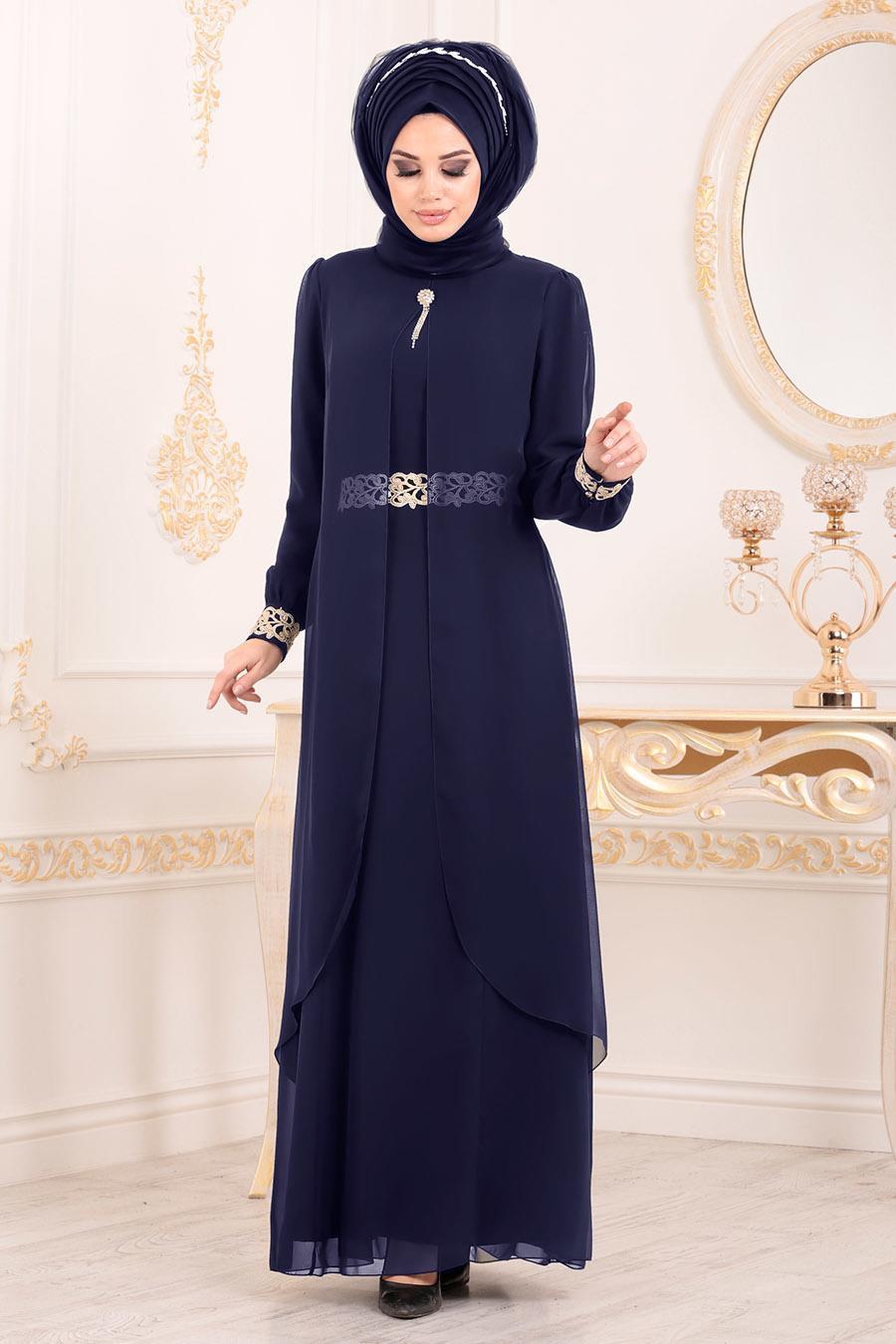 Nayla Collection - Dantel Detaylı Tüllü Lacivert Tesettür Abiye Elbise 95843L