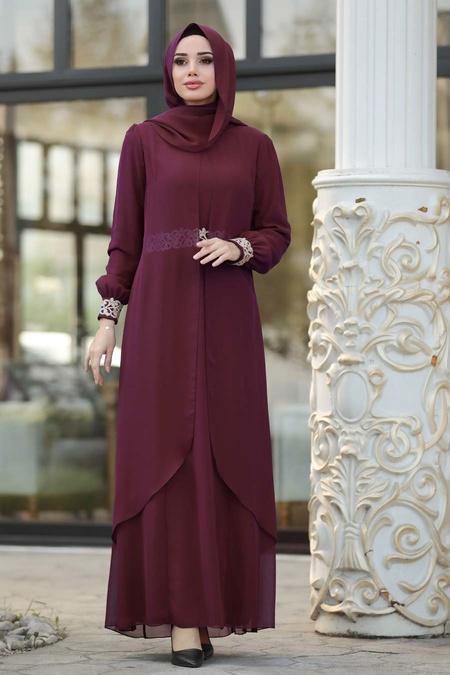 Nayla Collection - Dantel Detaylı Tüllü Mürdüm Tesettür Abiye Elbise 95843MU