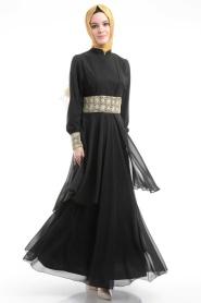 Nayla Collection - Dantel Detaylı Tüllü Siyah Elbise - Thumbnail