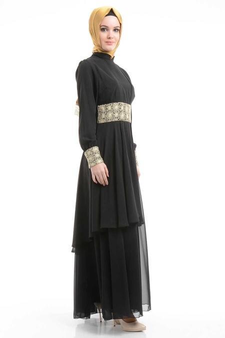 Nayla Collection - Dantel Detaylı Tüllü Siyah Elbise