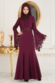 Nayla Collection - Dantel Detaylı Volan Kollu Mürdüm Tesettür Abiye Elbise 25694MU - Thumbnail