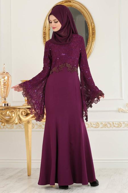 Nayla Collection - Dantel Detaylı Volan Kollu Mürdüm Tesettür Abiye Elbise 25694MU