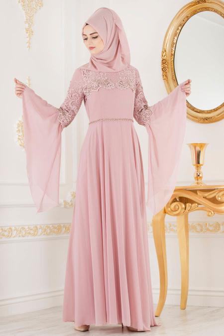 Nayla Collection - Dantel Detaylı Volan Kollu Pudra Tesettür Abiye Elbise 25695PD