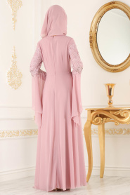 Nayla Collection - Dantel Detaylı Volan Kollu Pudra Tesettür Abiye Elbise 25695PD - Thumbnail