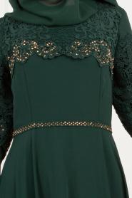 Nayla Collection - Dantel Detaylı Volan Kollu Yeşil Tesettür Abiye Elbise 25695Y - Thumbnail