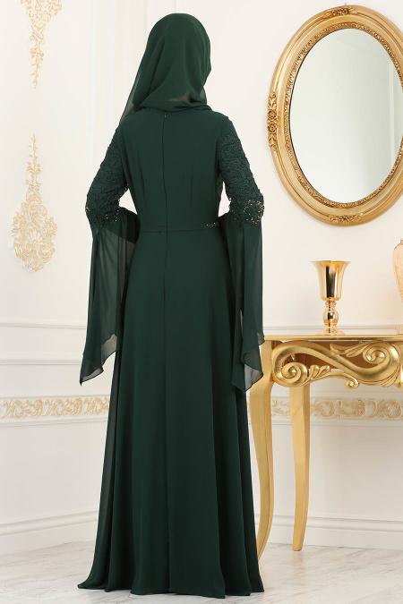 Nayla Collection - Dantel Detaylı Volan Kollu Yeşil Tesettür Abiye Elbise 25695Y