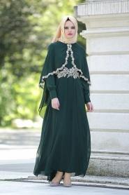 Nayla Collection - Dantel Detaylı Yeşil Tesettür Elbise 52436-01KY - Thumbnail
