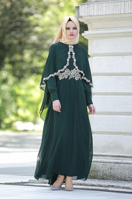 Nayla Collection - Dantel Detaylı Yeşil Tesettür Elbise 52436-01KY