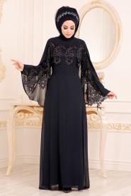 Nayla Collection - Dantel Pelerinli Lacivert Tesettür Abiye Elbise 25668L - Thumbnail
