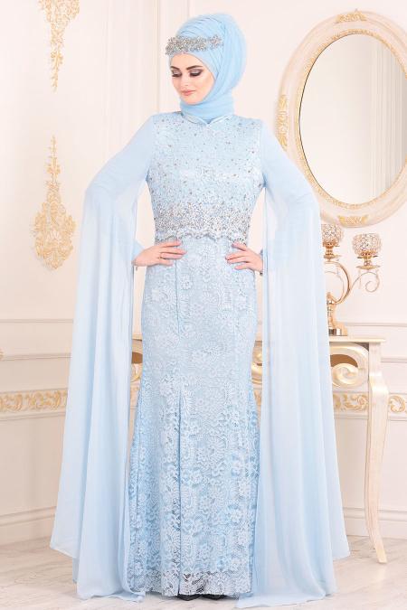 Nayla Collection - Dantelli Bebek Mavisi Tesettür Abiye Elbise 20080BM