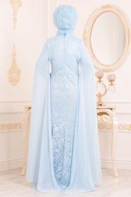 Nayla Collection - Dantelli Bebek Mavisi Tesettür Abiye Elbise 20080BM - Thumbnail