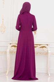 Nayla Collection - Dantelli Fuşya Tesettür Abiye Elbise 20110F - Thumbnail