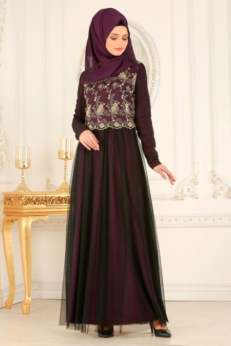 Nayla Collection - Dantelli Mor Tesettür Abiye Elbise 25675MOR