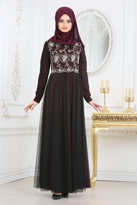 Nayla Collection - Dantelli Mürdüm Tesettür Abiye Elbise 25675MU