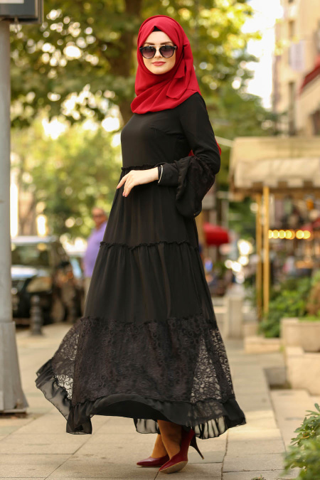 Nayla Collection - Dantelli Siyah Tesettür Elbise 100415S