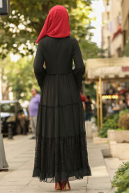 Nayla Collection - Dantelli Siyah Tesettür Elbise 100415S - Thumbnail
