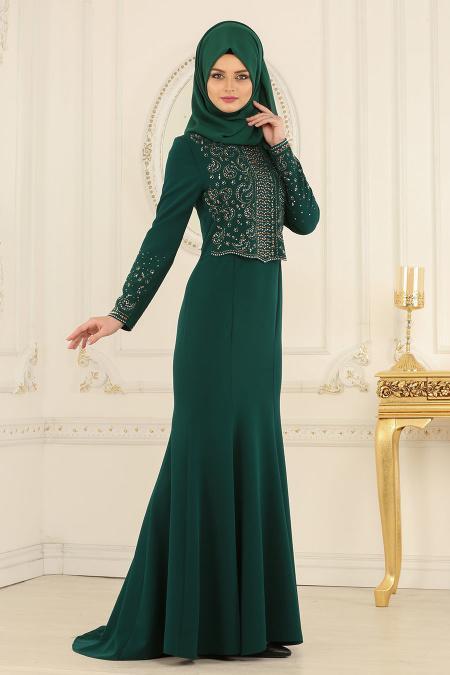Nayla Collection - Dantelli Yeşil Tesettür Abiye Elbise 20110Y