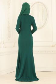 Nayla Collection - Dantelli Yeşil Tesettür Abiye Elbise 20110Y - Thumbnail