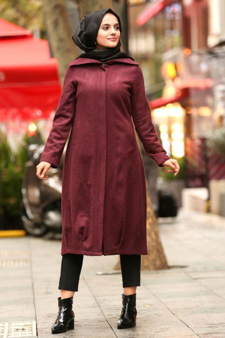 Nayla Collection - Dark Purple Hijab Coat 2453MU