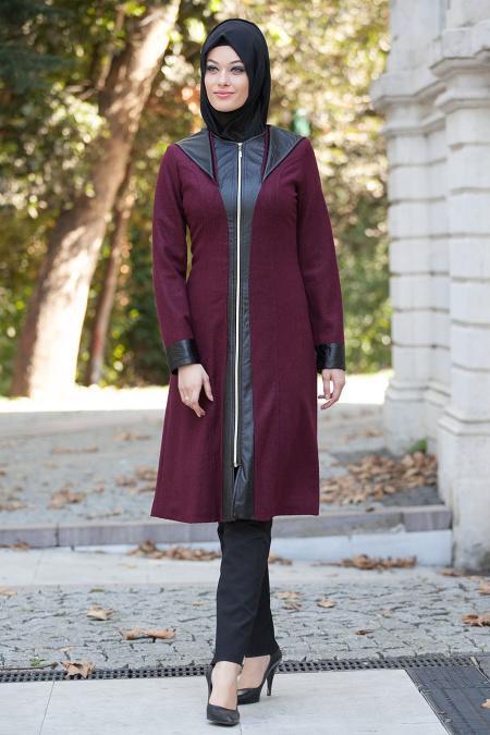 Nayla Collection - Deri Detaylı Mürdüm Keçe Tesettür Kap 82381-01MU