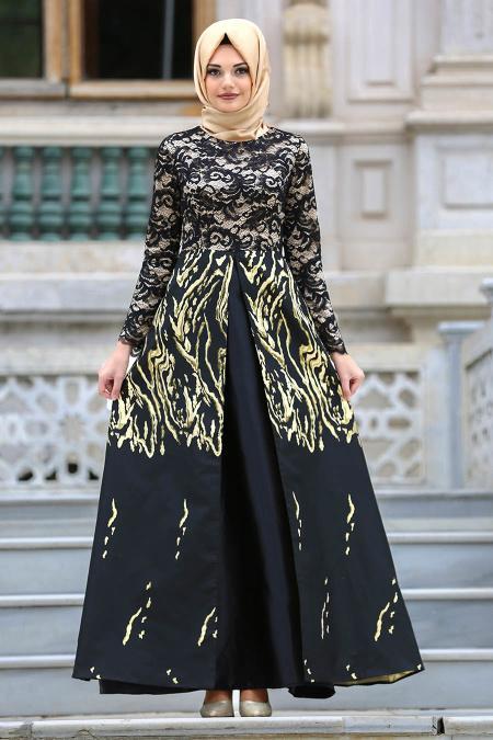 Nayla Collection - Desenli Jakarlı Siyah Tesettür Abiye Elbise 82442S