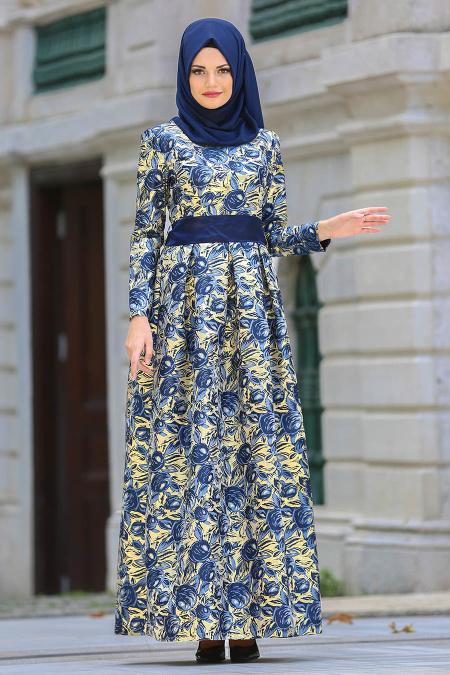 Nayla Collection - Desenli Lacivert Jakarlı Tesettür Abiye Elbise 82453L