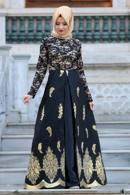 Nayla Collection - Desenli Siyah Tesettür Abiye Elbise 82450S