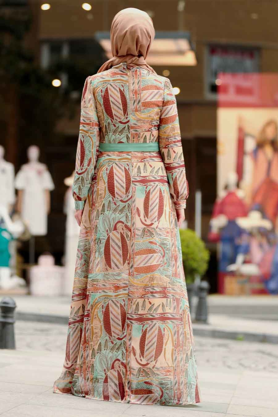 Nayla Collection - Desenli Tesettür Elbise 815234DSN