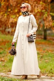 Nayla Collection - Düğmeli Bej Tesettür Kaşe Elbise 2488BEJ - Thumbnail