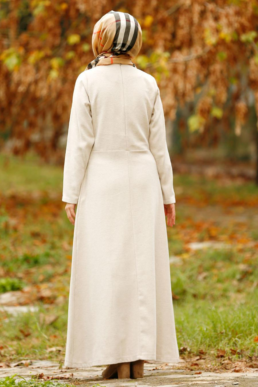 Nayla Collection - Düğmeli Bej Tesettür Kaşe Elbise 2488BEJ