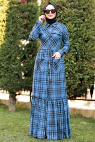 Nayla Collection - Düğmeli Ekoseli İndigo Mavisi Tesettür Elbise 8405IM - Thumbnail